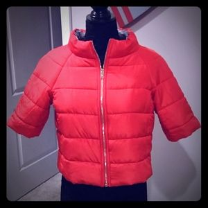 Chicos Red Crop Puffer Jacket